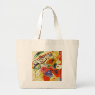 Kandinsky Black Strokes Abstract Painting Large Tote Bag