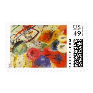 Kandinsky Black Strokes Abstract Painting Postage