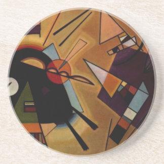 Kandinsky Black Violet Sandstone Coaster