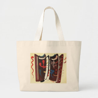 Kandinsky Brown with Supplement Abstract Large Tote Bag