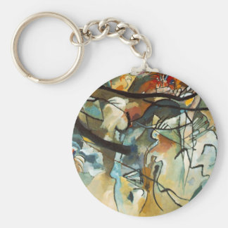 Kandinsky Composition V Abstract Painting Basic Round Button Keychain