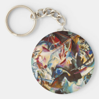 Kandinsky Composition VI Abstract Painting Basic Round Button Keychain