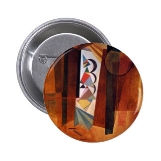 Kandinsky Development in Brown Abstract Painting Pinback Button