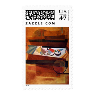 Kandinsky Development in Brown Abstract Postage Stamp