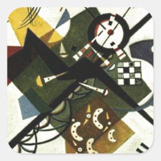 Kandinsky en el blanco II Pegatina Cuadrada
