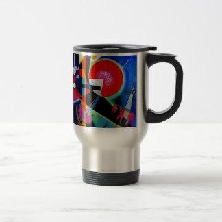 Kandinsky en la pintura abstracta azul taza de viaje de acero inoxidable