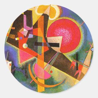 Kandinsky en pegatinas azules pegatina redonda