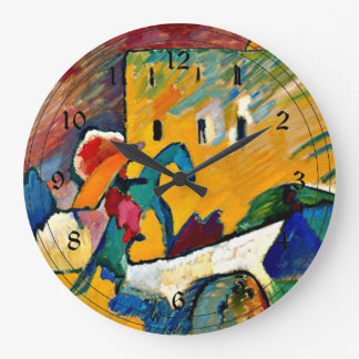 Kandinsky: Improvisación 3, pintura de paisaje Reloj Redondo Grande