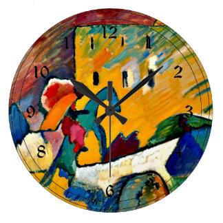 Kandinsky: Improvisation 3, landscape painting Large Clock