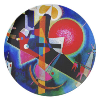 Kandinsky in Blue Abstract Painting Melamine Plate