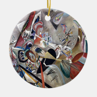 Kandinsky In Grey Abstract Artwork Ceramic Ornament
