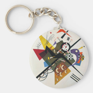 Kandinsky On White Two Abstract Painting Basic Round Button Keychain