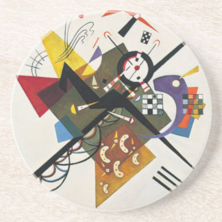 Kandinsky On White Two Abstract Painting Sandstone Coaster