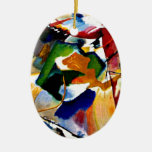 Kandinsky - Painting with Green Center Double-Sided Oval Ceramic Christmas Ornament