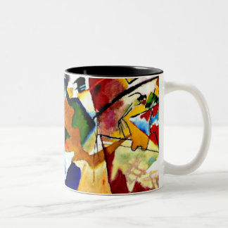 Kandinsky - Painting with Green Center Two-Tone Coffee Mug
