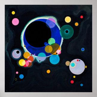 Kandinsky pintura abstracta de varios círculos póster