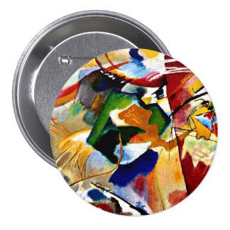 Kandinsky - pintura con el centro verde pin redondo 7 cm