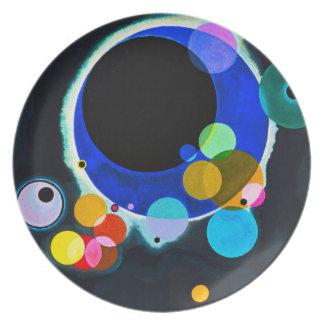 Kandinsky placa de varios círculos plato