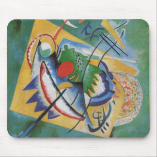 Kandinsky Red Oval Abstract Artwork Green Yellow Mouse Pad