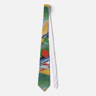 Kandinsky Red Oval Abstract Painting Green Yellow Neck Tie
