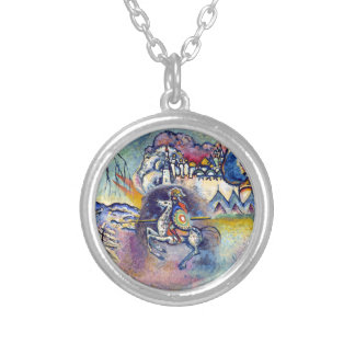 Kandinsky - Saint George and the Dragon Round Pendant Necklace