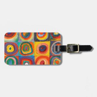 Kandinsky Squares Concentric Circles Bag Tag