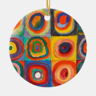 Kandinsky Squares Concentric Circles Ceramic Ornament