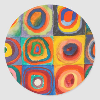 Kandinsky Squares Concentric Circles Classic Round Sticker