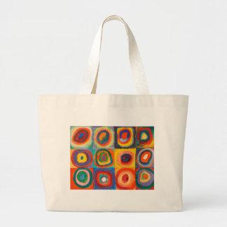 Kandinsky Squares Concentric Circles Large Tote Bag