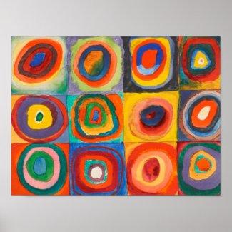 Kandinsky Squares Concentric Circles Poster