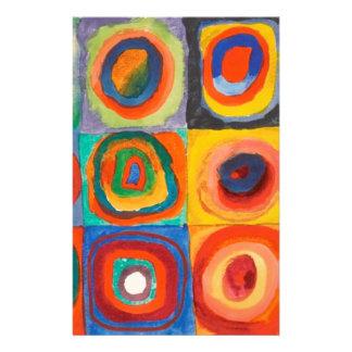 Kandinsky Squares Concentric Circles Stationery
