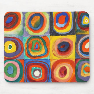 Kandinsky - Squares with Concentric Circles Mouse Pad