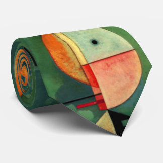 Kandinsky Upward Green Orange Abstract Painting Neck Tie