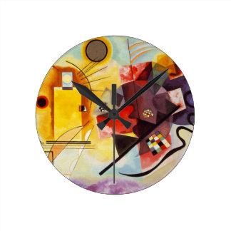 Kandinsky Yellow Red Blue Round Clock