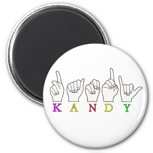 KANDY ASL FINGERSPELLED IMÁN REDONDO 5 CM