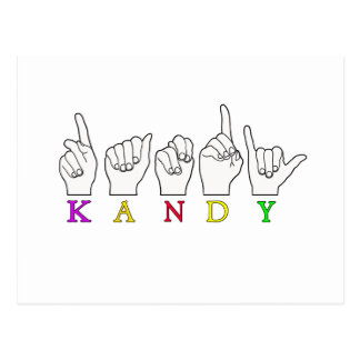 KANDY ASL FINGERSPELLED POSTCARD
