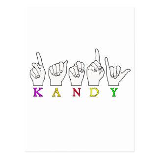 KANDY ASL FINGERSPELLED POSTCARD