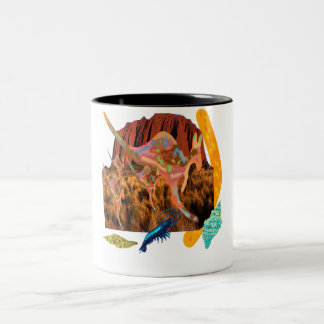 kangaroo,Aborigin,Australia collection Two-Tone Coffee Mug