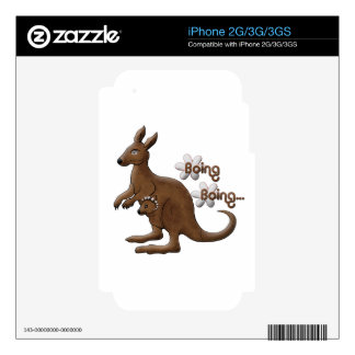Kangaroo and Baby Kangaroo in Pouch iPhone Decal Decal For iPhone 3