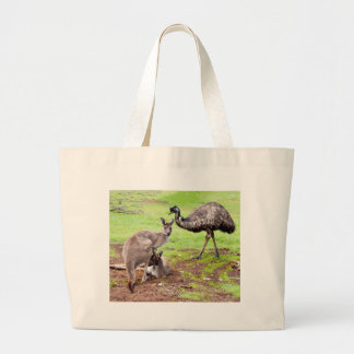 Kangaroo_And_Emu,_ Large Tote Bag