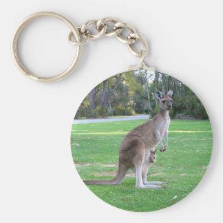 Kangaroo and Joey Basic Round Button Keychain