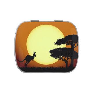 Kangaroo at sunset candy tin