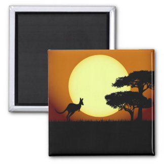 Kangaroo at sunset magnet