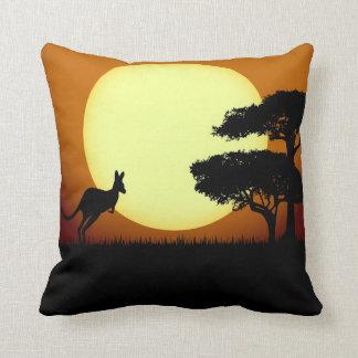 Kangaroo at sunset throw pillow