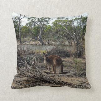 Kangaroo At The Billabong, Throw Cushion. Throw Pillow