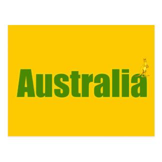 kangaroo australia logo yellow and green gifts postcard