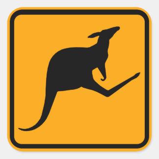 Kangaroo Australia Sign (pack of 6/20) Square Stickers