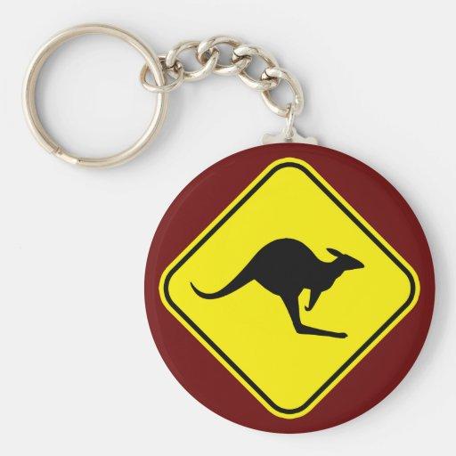 Kangaroo Basic Round Button Keychain