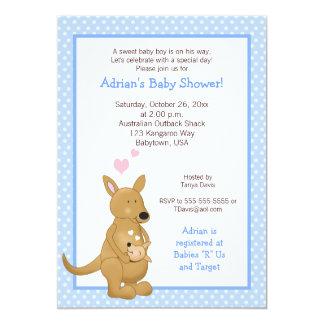 "Kangaroo boy Baby Shower Invitation Blue 5"" X 7"" Invitation Card"