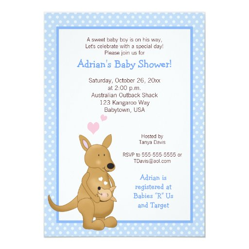 Kangaroo boy Baby Shower Invitation Blue